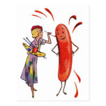 Retro Vintage Kitsch Frankfurter Hot Dog Artist Postcard