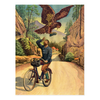 Retro Vintage Kitsch French Bicycle Eagle Nabs Cap Postcard