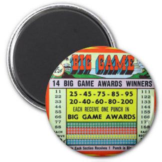 Retro Vintage Kitsch Gambling Punchboard Big Game Magnets