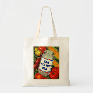 Retro Vintage Kitsch Gardening Can All You Can Budget Tote Bag