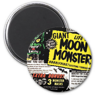 Retro Vintage Kitsch Giant Moon Monster Comic Ad 6 Cm Round Magnet