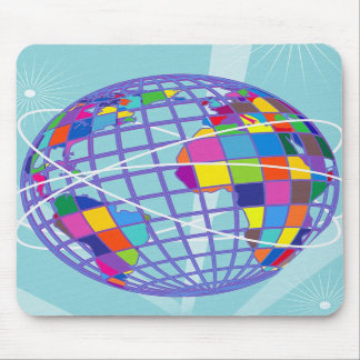 Retro Vintage Kitsch Global Intercontinental Trave Mouse Pad