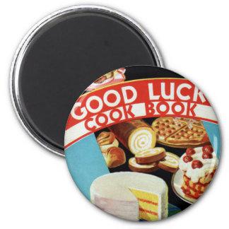 Retro Vintage Kitsch Good Luck Cook Book Margarine 6 Cm Round Magnet