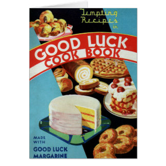 Retro Vintage Kitsch Good Luck Cook Book Margarine Greeting Card