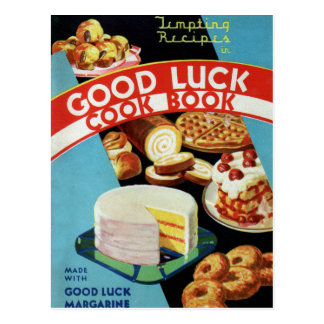 Retro Vintage Kitsch Good Luck Cook Book Margarine Postcard