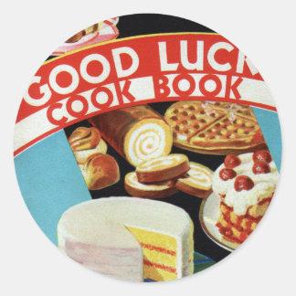 Retro Vintage Kitsch Good Luck Cook Book Margarine Round Sticker
