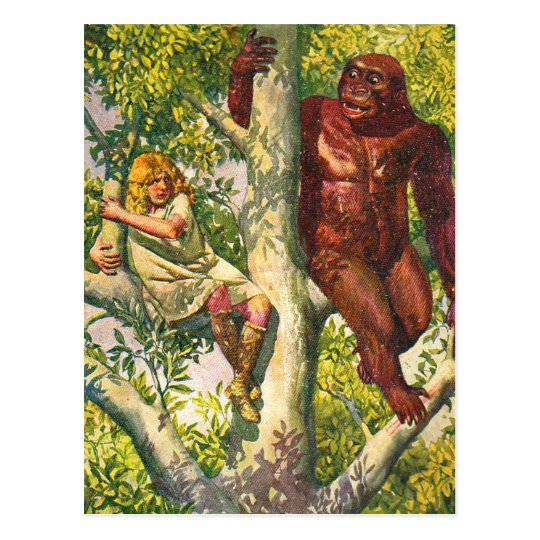 Retro Vintage Kitsch Gorilla & Girl in Tree