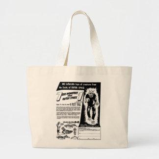 Retro Vintage Kitsch Halloween 7 Monsters $1 Ad Jumbo Tote Bag
