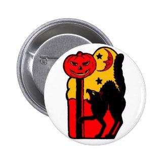 Retro Vintage Kitsch Halloween Black Cat 6 Cm Round Badge