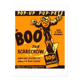Retro Vintage Kitsch Halloween Boo the Scarecrow Postcard