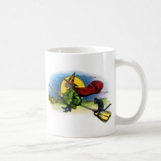 Retro Vintage Kitsch Halloween Flying Witch Classic White Coffee Mug