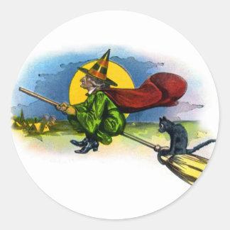 Retro Vintage Kitsch Halloween Flying Witch Round Sticker