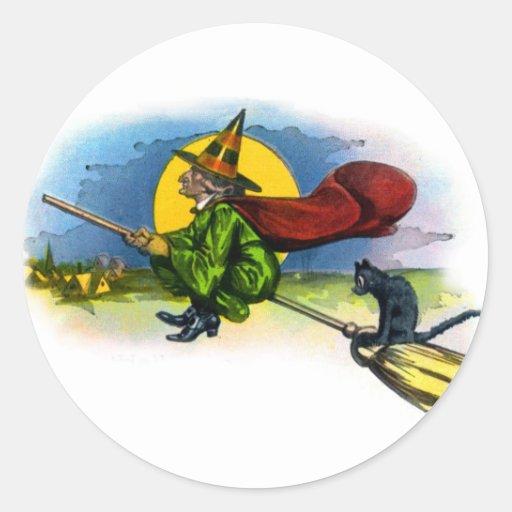 Retro Vintage Kitsch Halloween Flying Witch Sticker