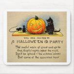 Retro Vintage Kitsch Halloween Invitation Mouse Mat