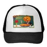 Retro Vintage Kitsch Halloween Pumpkin Eating Pie Cap