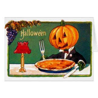 Retro Vintage Kitsch Halloween Pumpkin Eating Pie Card