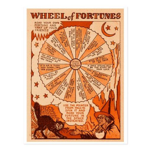 Retro Vintage Kitsch Halloween Wheel of Fortunes Post Cards