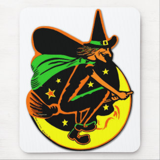 Retro Vintage Kitsch Halloween Wicked Witch Mouse Pad