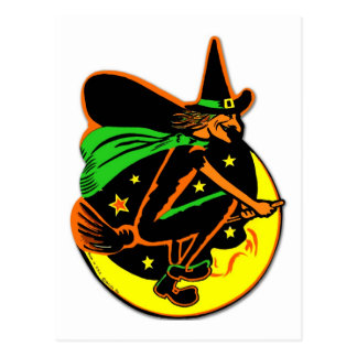 Retro Vintage Kitsch Halloween Wicked Witch Postcard