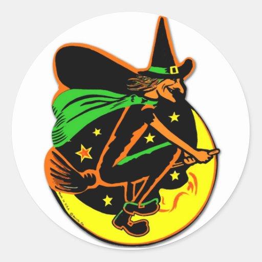 Retro Vintage Kitsch Halloween Wicked Witch Round Stickers