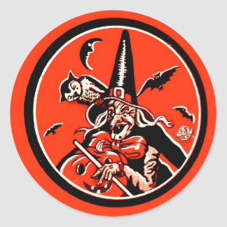Retro Vintage Kitsch Halloween Witch & Black Cat Round Sticker