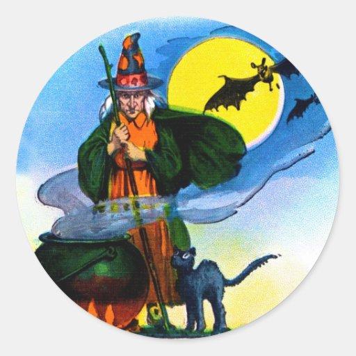 Retro Vintage Kitsch Halloween Witches Brew Round Stickers