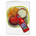 Retro Vintage Kitsch Hamburgers With Ketchup Greeting Card