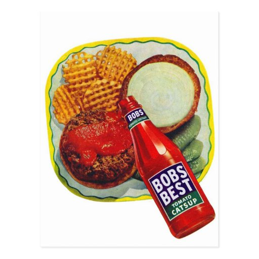 'Retro Vintage Kitsch Hamburgers With Ketchup Postcard