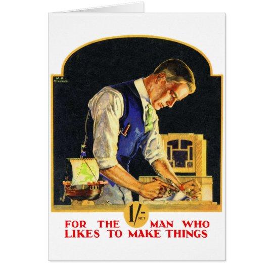 Retro Vintage Kitsch Handyman Woodworker Craftsman Card