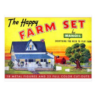 Retro Vintage Kitsch Happy Farm Manoil Toy Metal Post Card