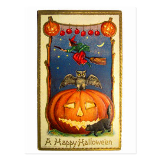 Retro Vintage Kitsch Happy Halloween Card Postcard