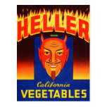 Retro Vintage Kitsch Heller Devil Vegetables Label Post Cards