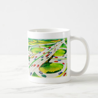Retro Vintage Kitsch Highway Cloverleaf Basic White Mug