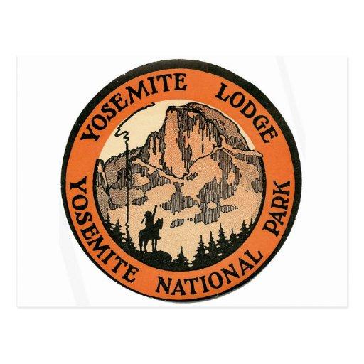 Retro Vintage Kitsch Hotel Yosemite Lodge Tag Post Card