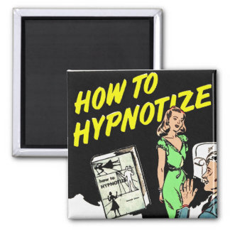 Retro Vintage Kitsch How To Hypnotize Comic Ad Square Magnet