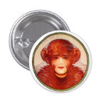 Retro Vintage Kitsch Illusion Chimp or Woman? Buttons