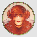 Retro Vintage Kitsch Illusion Chimp or Woman? Round Sticker