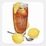 Retro Vintage Kitsch Illustration Iced Tea Lemons Square Sticker