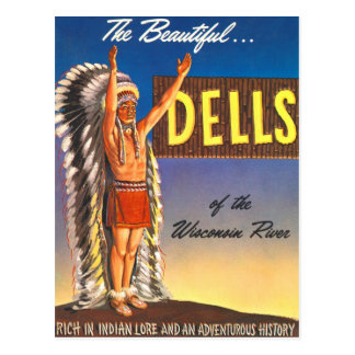 Retro Vintage Kitsch Indian Chief Wisconsin Dells Postcard
