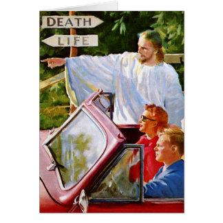 Retro Vintage Kitsch Jesus Points The Way Greeting Card