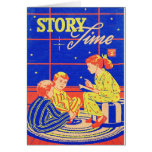 Retro Vintage Kitsch Kid Childrens Book Story Time Greeting Card