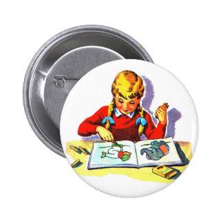 Retro Vintage Kitsch Kid School Book Arts & Crafts 6 Cm Round Badge