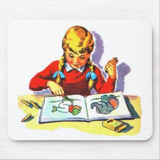 Retro Vintage Kitsch Kid School Book Arts & Crafts Mouse Pad