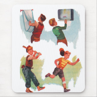 Retro Vintage Kitsch Kid School Book Boys Playing Mouse Pad