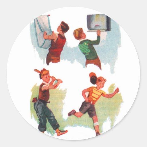 Retro Vintage Kitsch Kid School Book Boys Playing Round Stickers