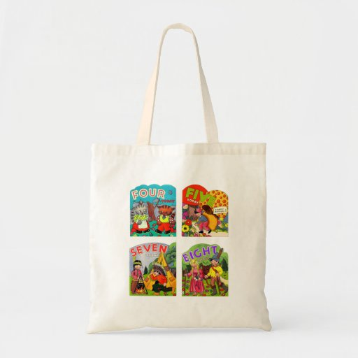 Retro Vintage Kitsch Kids Birthday Cards 4,5,7,8 Tote Bags