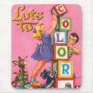 Retro Vintage Kitsch Kids Coloring Book Mouse Pad
