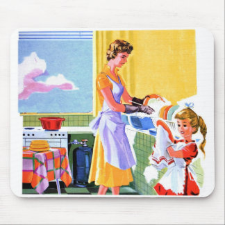 Retro Vintage Kitsch Kids Doing Dishes With Mom Mouse Pad