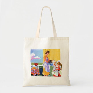 Retro Vintage Kitsch Kids Doing Dishes With Mom Canvas Bags