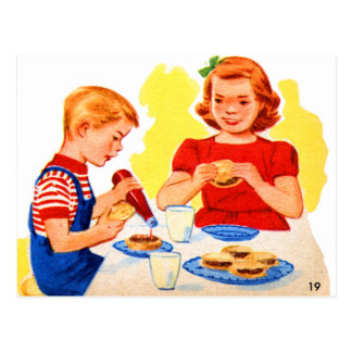 Retro Vintage Kitsch Kids Eating Hamburgers Burger Postcard